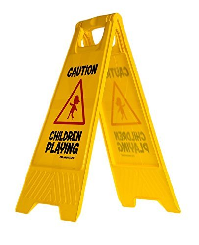 Children Playing Caution Sign for Yards and Driveways (Double-Sided) - Caution, Children Playing
