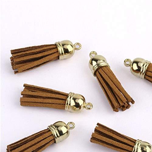 LLAAIT 100 Stuks 40 mm Lederen Tassel Hangers Faux Suede Kwastje met Caps voor Sleutelhanger Bandjes DIY Accessoires
