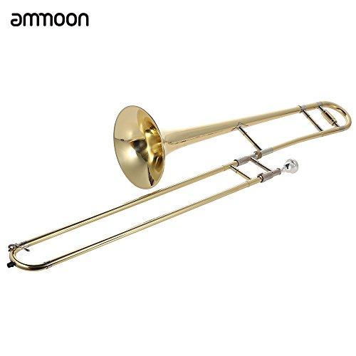 ammoon Tenor Trombone Brass Gold Lacquer Bb Tone B flat with