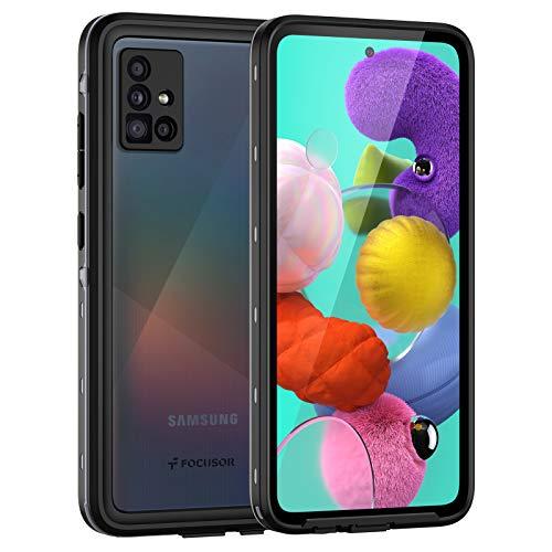 Focusor Funda para Samsung A51 4G, carcasa para Samsung A51 IP68, resistente al agua 360 grados, antigolpes, resistente al polvo y a la nieve, para exterior, color negro