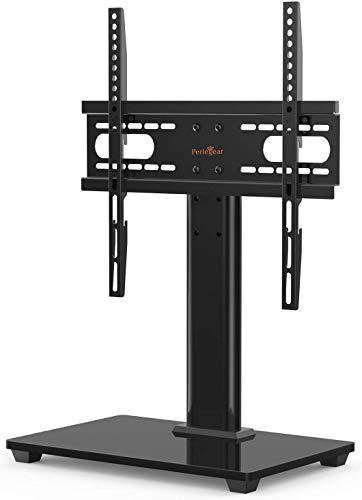 Perlegear Supporto TV Tavolo per 26-55 pollici - Altezza Regolabile Piedistallo per TV da LCD/LED/Plasma,che Regge fino a 40 Kg,VESA Max 400x400 mm