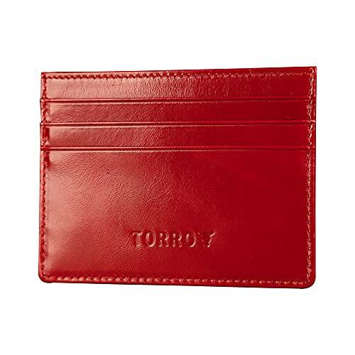 TORRO Tarjetero de Cuero Genuino para Tarjetas de Crédito y Visita (Rojo)