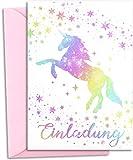 12x GLITZER Einladungskarten Kindergeburtstag mit pastell