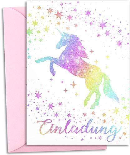 12x GLITZER Einladungskarten Kindergeburtstag mit pastell rosa UMSCHLÄGEN | Verzaubertes Einhorn | Mädchen & Jungen | Regenbogen Einladung Geburtstag Kinder Pferde Geburtstagseinladung Einladungen