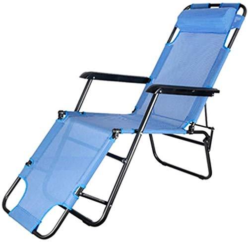 HSWJ Sillón Plegable al Aire Libre Portátil Camping Silla Oficina Almuerzo Break Recliner Silla de Playa (Color : Blue)
