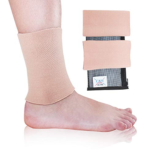CRS Cross Ankle Gel Sleeves - Padded Skate Socks Ankle Protection (Figure Skating, Hockey, Roller, Inline, Riding, ski or Equestrian Tall Boots) (CRS-Sleeve)