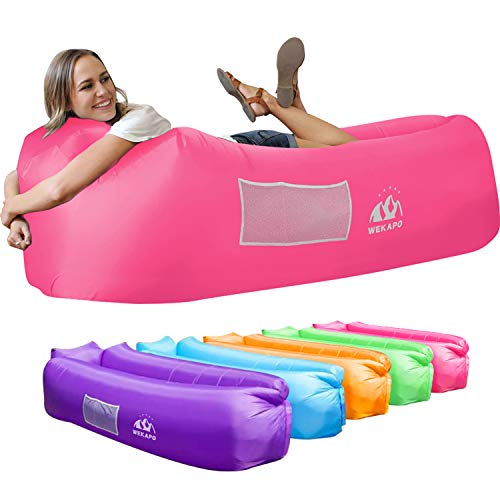 Wekapo Inflatable Lounger Air Sofa Hammock-Portable,Water Proof& Anti-Air Leaking Design-Ideal Couch for Backyard Lakeside Beach Traveling Camping Picnics & Music Festivals (Pink)