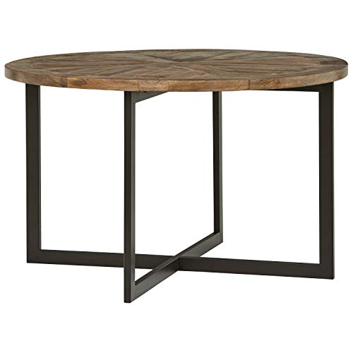 Amazon Brand – Stone & Beam Industrial Mango Wood Round Dining Table, 48'W,...
