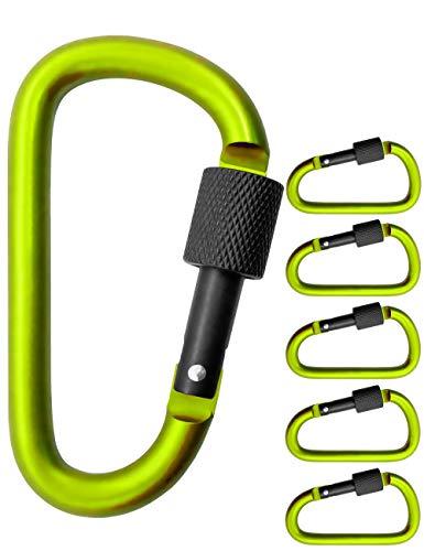 Outdoor Saxx® - Lot de 5 grands mousquetons à vis pour fixation d'équipement, aluminium, 8 cm, vert clair, noir, lot de 5.