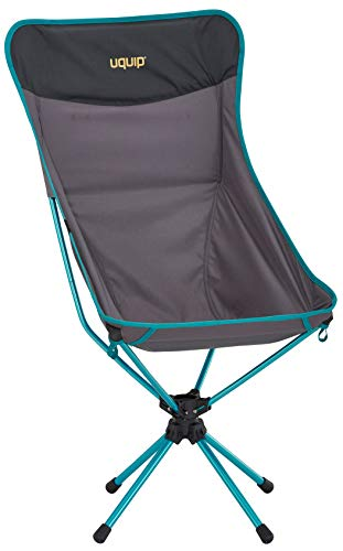 Uquip Three Sixty L Ultraleicht Campingstuhl mit hoher Rückenlehne, Tragetasche, 360° Drehgelenk, Grau