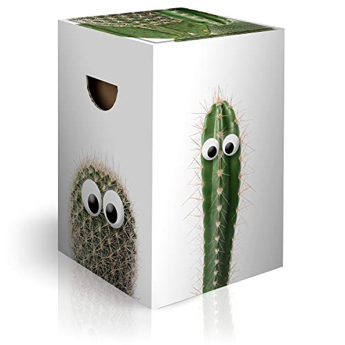 murando Papphocker Motiv Kaktus 45x30x30 cm faltbar Papier Hocker ergonomischer Karton Photohocker Falthocker b-A-0419-ap-a
