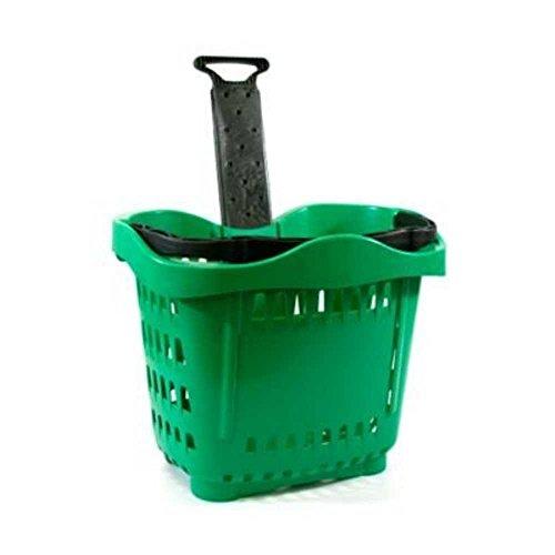 Cesta con ruedas para la compra de plástico con asa telescópica de 43 litros para decoración de supermercados y tiendas de 533 x 380 x 425 mm. Cesta útil para supermercados y minimarket (verde)