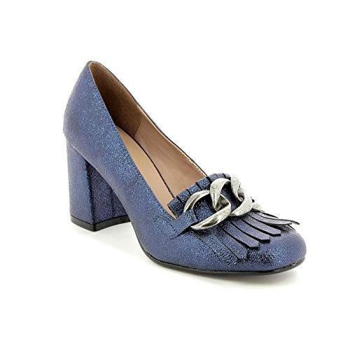 Alesya by Scarpe&Scarpe - Mocassini Alti con Frangia e Catena, con Tacco 8 cm - 35,0, Blue