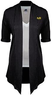Kappa Alpha Theta Ladies Black Drape Front Cardigan 'Greek Letters'