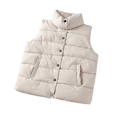 Damen Weste mit Stehkragen Weste Jacke Reißverschluss Steppweste, Frau Weste Gilet Jacke Mantel Outwear Solid Warm Tops(Weiß,Small)