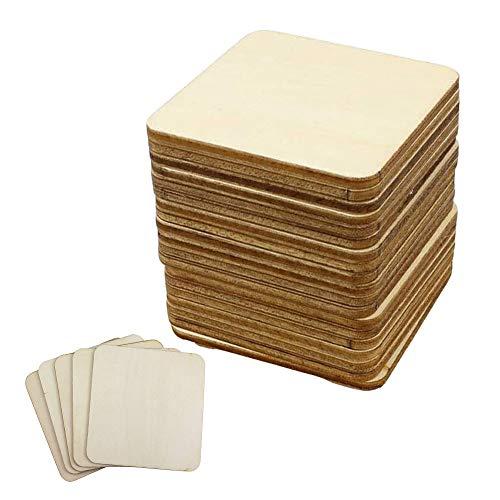 Paquete de 50 cuadrados de madera, 5 x 5 cm, formas cuadradas de madera sin terminar para pintura, grabado láser, pintura, quema de madera