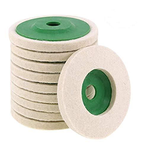 Easy-topbuy 10PCS Felt Polishing Wheel 4-inch, Wear-resistant Angle Grinder Wheels Buffing Pads Felt Polish Disc For Metal Glass Ceramic Marble Wooden Floor (color Random)