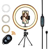 """Wowon 10.2"""" Ring Light LED Bulbs Selfie with Tripod Adjustable Stand Phone Holders 10 Brightness Level 3 Light Modes USB Powered for YouTube INS Video Live Stream Makeup Photography"""