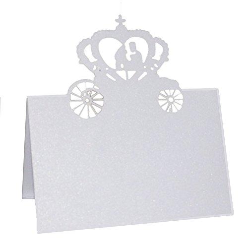 ROSENICE 50pz Segnaposto Segnatavolo in Carta Sposi in Cuore Carrozza Bianco Matrimonio Bomboniera