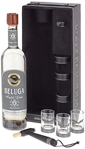 Beluga Russian Vodka Gold Line Leather mit 3 Gläser