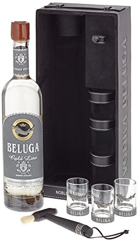 Beluga Russian Vodka Gold Line Leather mit 3 Gläser (1 x 0.7 l)