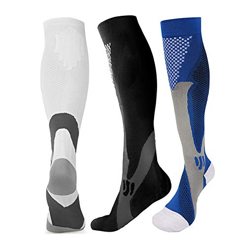 HAOLONGLY 3pairs Knee High Compression Socks for Men Sports Travel Gym 20-30 mmHg 3 pairs(Blue+Black+White) (L/XL)
