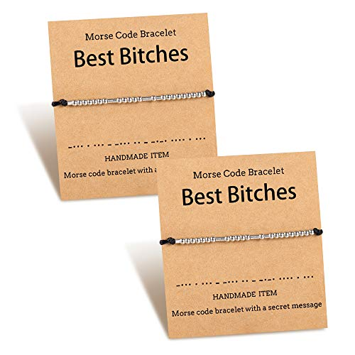 PPJew Best Bitches Morse Code Set Best Friends BFF Friendship Stainless Steel Adjustable String Matching Bracelets for Women Sister Girls 2 Pcs