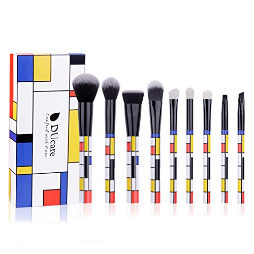9 PCS Plaid Make-Up Pinsel - Foundation Lidschatten Blending Puderpinsel, Ziegenhaar Pinsel Kosmetik...