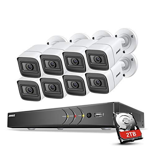 ANNKE Kit de 8 Cámaras de Seguridad Metal 4K H.265+ 8CH DVR Ultra HD y Cámaras Vigilancia 3840 * 2160 Impermeable IP67 Visión nocturna de 100pies/30m Soporta múltiples idiomas Acceso remoto-2TB HDD