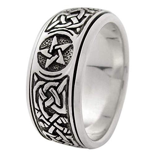 Silver Celtic Knot Pentacle Spinner Worry Ring for men or women (sz 4-15) sz 9