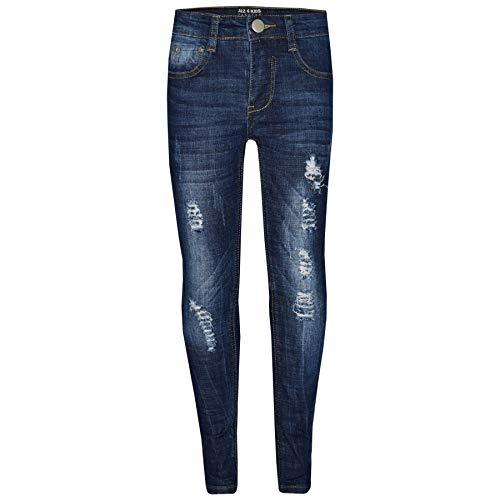A2Z 4 Kids® Kinder Jungen Dünn Jeans Designer Denim Zerrissen - Boys Jeans M1070 Dark Blue 9-10