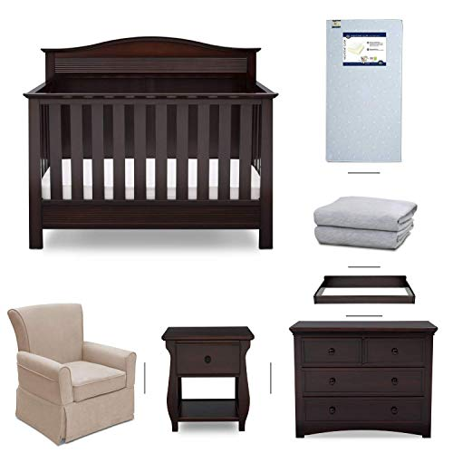 Serta Barrett 7-Piece Nursery Furniture Set - Convertible Crib, Dresser, Changing Top, Nightstand, Crib Mattress, Glider, Crib Sheets - Dark Chocolate