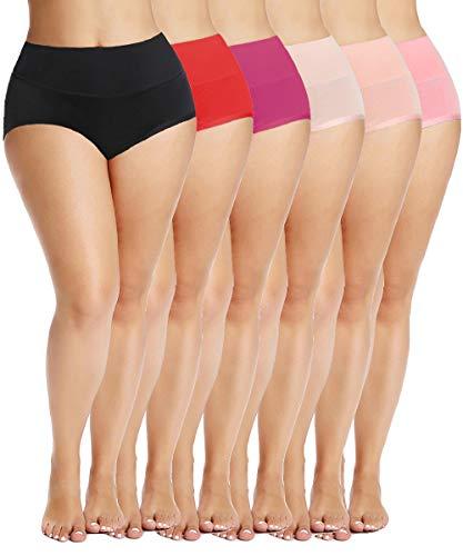 Calcinha feminina Bycc Bynn de algodão elástico plus size cintura alta controle de barriga (pacote com 6), Pacote com 6 - Sortidos, XL