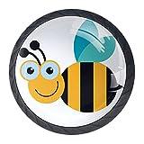 Bienen mit Comic Lächeln 03 Möbelknöpfe Schrankknopf 4er-Pack Möbelgriff mit Edelstahl-Schraubschrank Kleiderschrank Kommode Boxdekoration 3.5×2.8CM