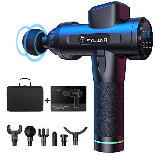 Fylina Pistolet de massage, appareil de massage électrique sans fil, avec 20 vitesses, 6 têtes de massage différentes, outil de relaxation