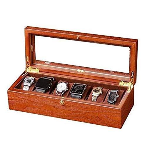 Caja de reloj, caja de reloj ejecutiva de 6 ranuras con servicio de valet, vitrina de reloj de madera con tapa de vidrio, organizador de reloj, caja de almacenamiento de joyería de lujo Happy house