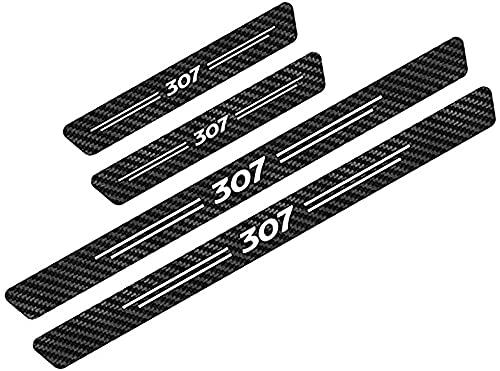 HOWWO 4 Piezas Fibra de Carbon Umbral Puerta Decoración Estribos, para Peugeot 307 Coche Pegatina Protector Accesorios Impermeable Protección Deumbral Pedal
