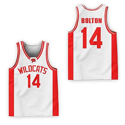 Zac E Troy Bolton 14 East High School Wildcats Patch Basketball Jersey Tanks Stitch (42, White)