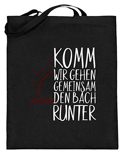 Kom, we gaan samen Den Bach Runter - Partner Vrienden eenvoudig en grappig design - Jute zak (met lange handvatten)