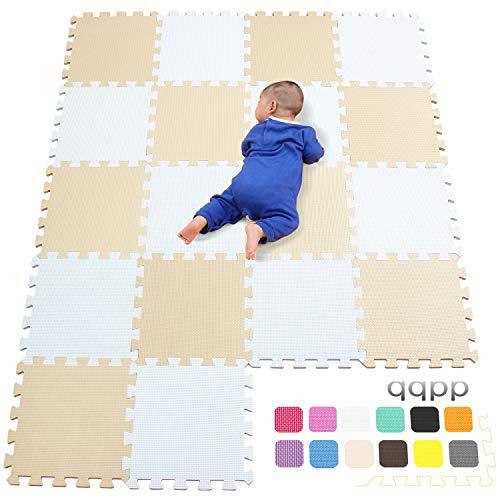 qqpp Alfombra Puzzle para Niños Bebe Infantil - Suelo de Goma EVA Suave. 18 Piezas (30*30*1cm), Blanco & Beige.QQC-AJb18N