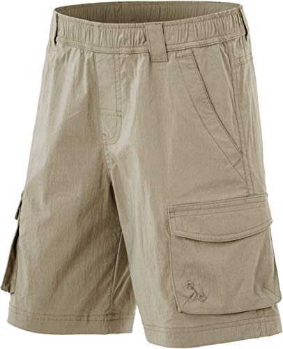 CQR Kids Youth Pull on Cargo Shorts, Outdoor Camping Hiking Shorts, Lightweight Elastic Waist Athletic Short with Pockets, Driflex Shorts(bxs416) - Khaki, Large_14-16