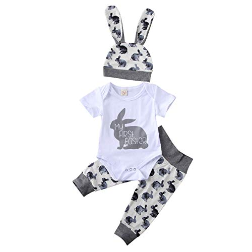 Newborn Baby Boys Girls Easter Outfits My 1St Easter Letter Short Sleeve Romper+Rabbit Long Pants+Hat Clothes Set (Baby Boys, 0-3M)