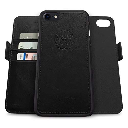 dreem Fibonacci 2 en 1 Funda iPhone SE(2) 8 7 Cuero Vegano Tipo Billetera | Funda Magnética Desmontable a Prueba de Golpes TPU Fino | Protección RFID | Caja de Regalo | Negro