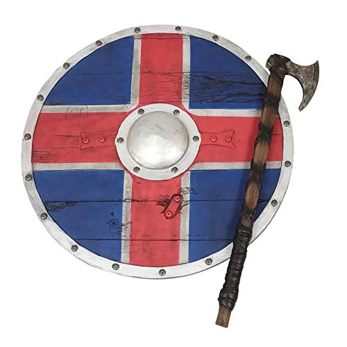 LOOYAR PU Foam Vikings Viking Age Middle Ages Medieval Round Shield and Hand Axe Weapon Toy Adult...