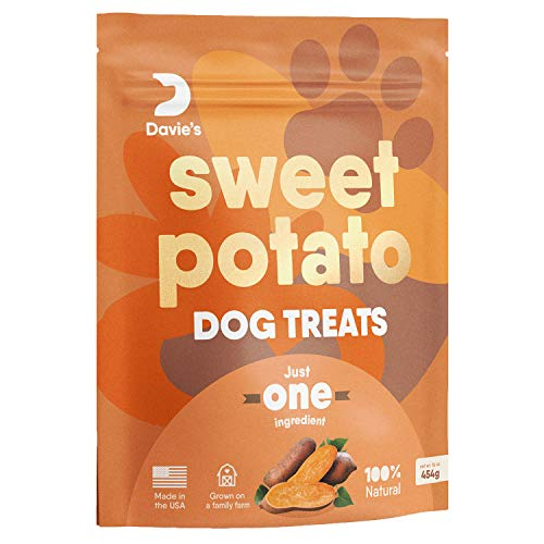 Sweet Potato Dog Treats, Made in The USA, High in Fiber, Grain Free, Vegan, No Preservatives, Vegetarian Alternative to Rawhide Chews, Rich in Vitamins, Large 1 lb. Bag