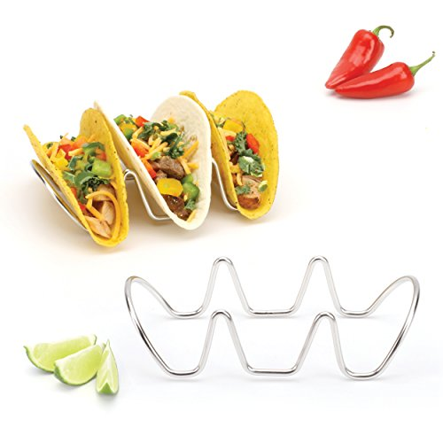 Taco Holder, Taco Stand, Taco Rack, Premium 18/8 Stainless Steel, Taco Holders, Set of Two (Holds 3 Tacos)