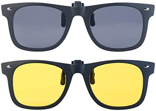 PEARL Aufsteck Sonnenbrille: 2er-Set Nachtsicht- und Sonnenbrillen-Clips, polarisiert, UV400 (Sonnenbrille Aufsatz)
