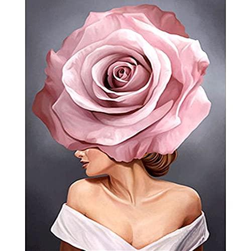 ZXDA Immagine per Numero Maiden Flower Canvas con Vernice acrilica incorniciata per Adulti Kit Fai da Te Disegno a Colori Pittura per Numero Art A5 45x60cm
