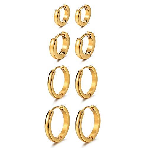 Cupimatch 7mm-14mm Orecchini cerchio rotondi acciaio inossidabile ipoallergenico lucidi Uomo Donna(4 paia) oro