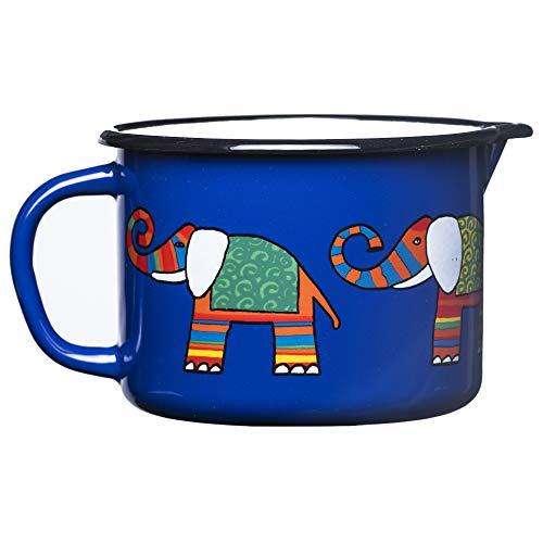 Smaltum Universeller Kleiner dunkelblauer Kochtopf mit Ohr und Schnabel. Mit einem Elefanten.